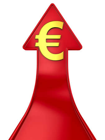 euro sign and red arrow on white background. Isolated 3D illustration