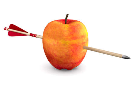 Red apple and arrow on white background. Isolated 3D illustration Standard-Bild