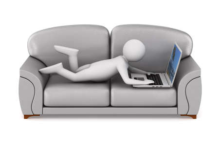 man with laptop on white background. Isolated 3D illustration