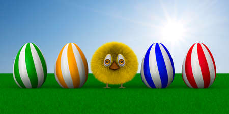 furry chicken and eggs on sky background. 3D illustration