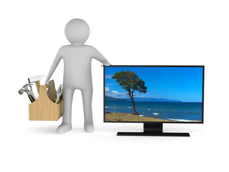 tv service on white background. Isolated 3D illustration