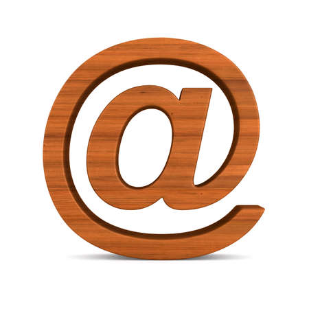 wooden symbol email on white background. Isolated 3D illustration