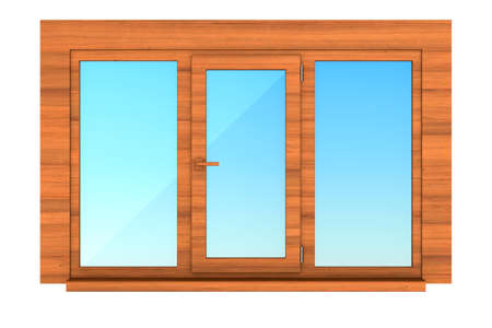 closed wooden window on white background. Isolated 3D illustration