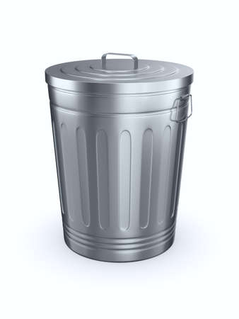Closed garbage basket on white background. Isolated 3D illustration