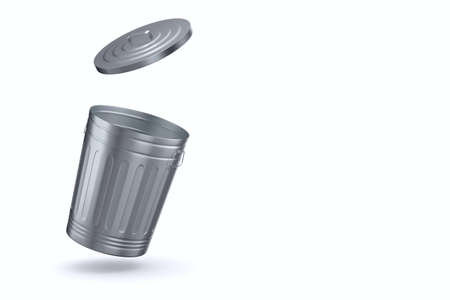 Open garbage basket on white background. Isolated 3D illustration