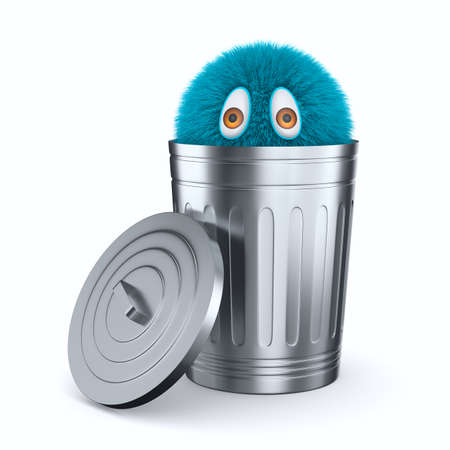 monster into open garbage basket on white background. Isolated 3D illustration