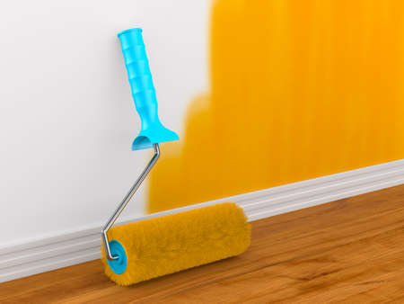 Painting of wall. Roller brush. 3D illustration