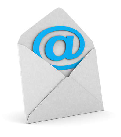 open envelope and symbol email on white background. Isolated 3D illustration Standard-Bild