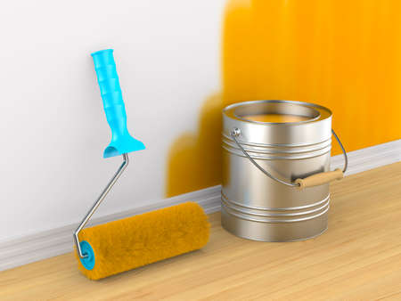 Painting of wall. Roller brush and can. 3D illustration Standard-Bild