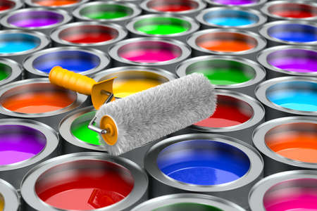 paintbrush and cans with color. 3D illustration