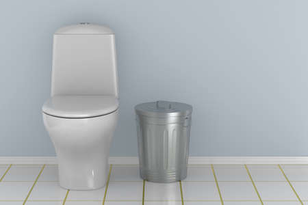 Toilet bowl into water closet. 3D illustration