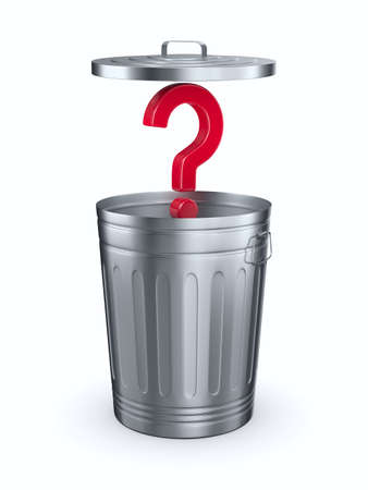 Open garbage basket and question on white background. Isolated 3D illustration