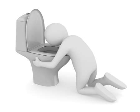 Man vomit in toilet bowl on white background. Isolated 3D illustration