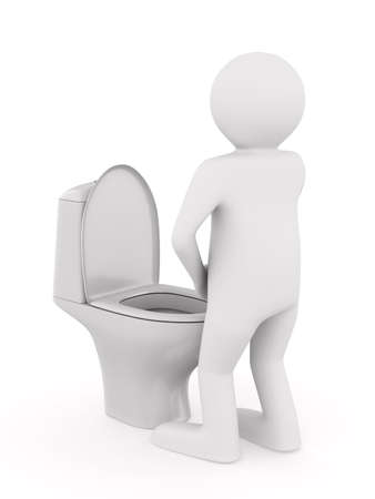 man and toilet bowl on white background. Isolated 3D illustration