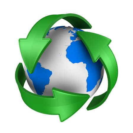 sign recycled and globe on white background. Isolated 3D illustration