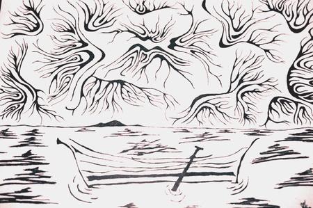 pencil sketch: Pencil sketch of floating boat