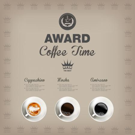 planta de cafe: Premio Menú del café Vectores
