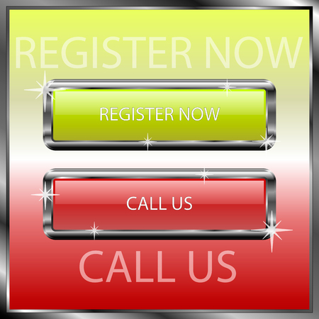 web browser: Register now and call us buttons on a color reflective surface