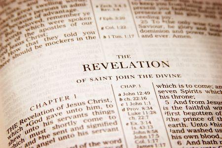 Bible open to revelation Archivio Fotografico