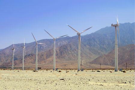 Wind mill farm for alternative renewable energy Archivio Fotografico