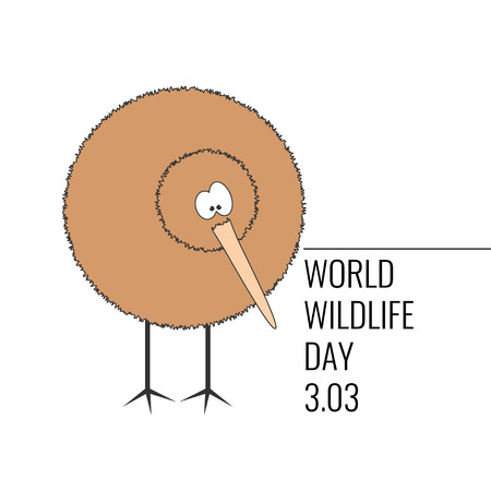 World wildlife day poster. Funny cartoon kiwi standing and looking to the side