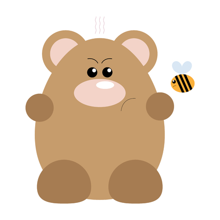 Funny cartoon angry bear and his bee friend Illustration