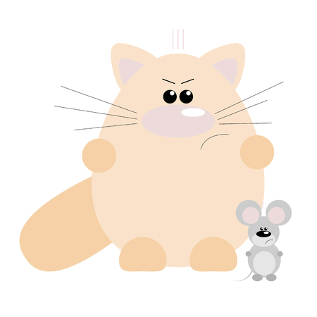 Funny cartoon angry cat and his mouse friend