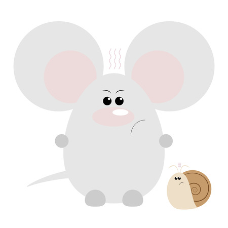Funny cartoon angry mouse and his snail friend
