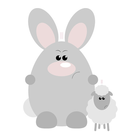 Funny cartoon angry rabbit and his sheep friend