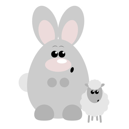 Funny cartoon surprised rabbit and his sheep friend