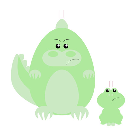 Funny cartoon angry crocodile and his frog friend