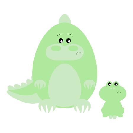 Funny cartoon sad crocodile and his frog friend