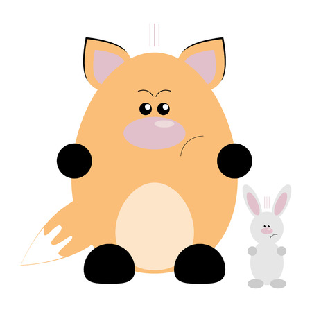 Funny cartoon angry fox and his rabbit friend