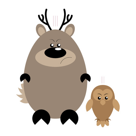 Funny cartoon angry deer and his owl friend Illustration