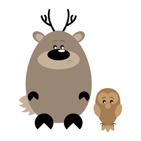 Funny cartoon sad deer and his owl friend