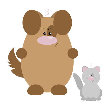 Funny cartoon angry dog and his cat friend