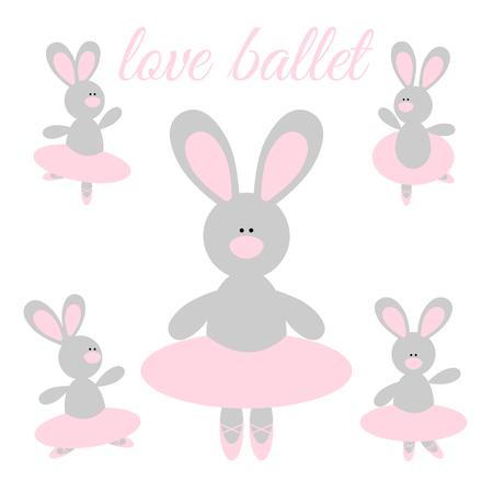 pointes: Cute cartoon rabbit ballerina in a pink tutu and pointes