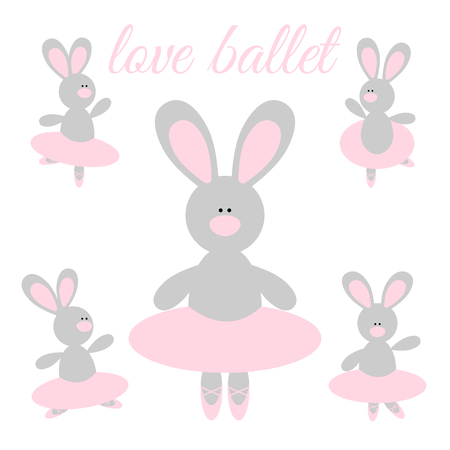 Cute cartoon rabbit ballerina in a pink tutu and pointes