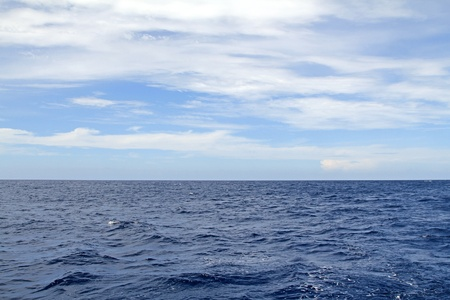 The view of the blue sea surface and sky with clouds