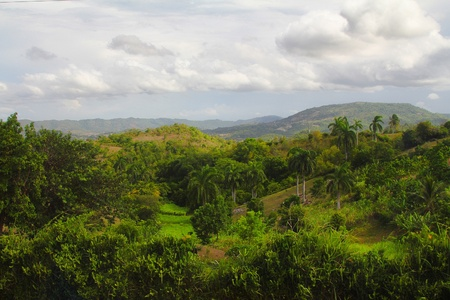 The view of a valley in Holguin, Cuba Stock Photo