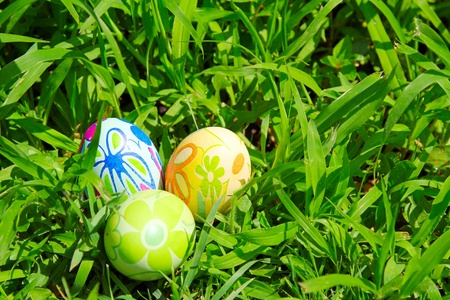 Three painted easter eggs on the green grass background photo