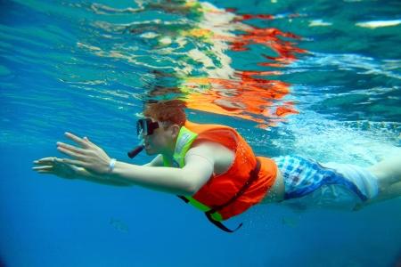Young man snorkeling in Caribbean Sea, Varadero, Cuba