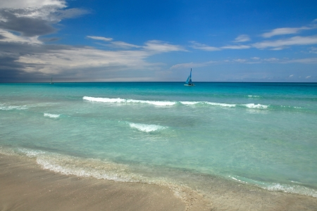 View of a tropical beach with water and sand. Varadero, Cuba
