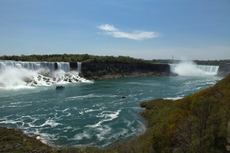 The view of the American and Horseshoe Falls in May  Niagara Falls, Ontario, Canada  Stock Photo