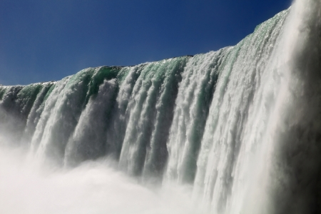The view of the waterfall on the blue sky background. Niagara Falls, Ontario Stock Photo