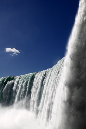The view of the horse shoe falls on the blue sky background. Niagara Falls, Ontario, Canada