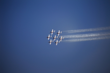 The view of several jet planes in formation on the blue sky background