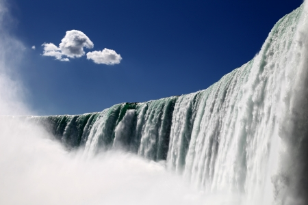 niagara river: The view of the horse shoe falls on the blue sky background. Niagara Falls, Ontario, Canada