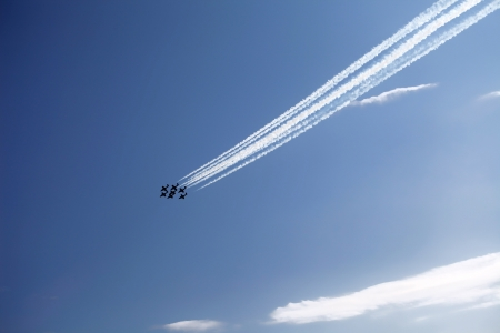 The view of several jet planes in formation on the blue sky background photo