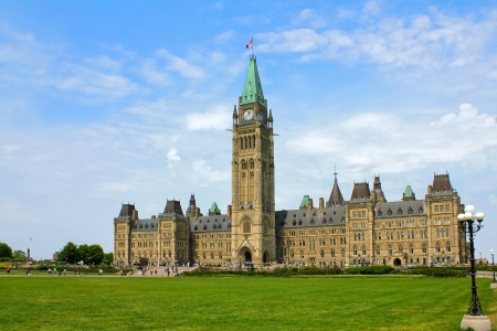 The building of Canadian Parliament on the Parlament Hill, Ottawa, Ontario
